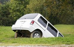 Minivan Sinking Stock Photo