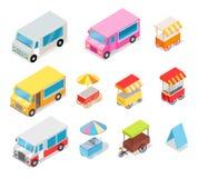 Minivan and Streetfood Stall Collection on White Stock Photos