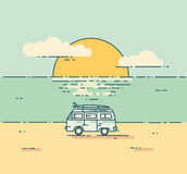 Minivan with sunset landscape. Royalty Free Stock Images