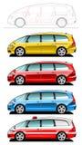 Minivan, ziekenwagenauto Royalty-vrije Stock Foto's