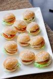 Minivarkensvleesburgers royalty-vrije stock fotografie