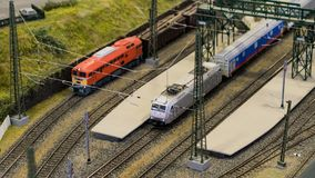 Budapest, Hungary - JUN 01, 2018: Miniversum Exhibition - Miniature model trains sat on tracks. Miniversum is one of the largest miniature exhibitions in the stock photography