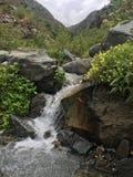 Miniwasserfall in den Bergen Stockfoto