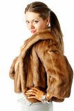Mink coat. Model poses wearing authentic mink coat from the 1970's Stock Photography