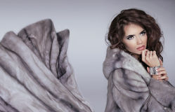 Mink fur coat. Winter girl. Beautiful brunette woman isolated on Stock Photography