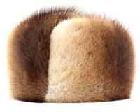 Mink hat. Isolated on white Royalty Free Stock Image