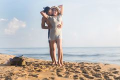 Minnaar op het strand Stock Afbeelding