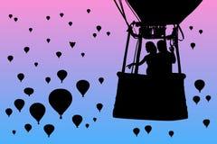 Minnaars in ballon bij dageraad vector illustratie