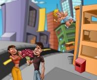 Minnaars in de straat stock illustratie