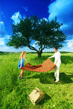 Minnaars op picknick Royalty-vrije Stock Foto's