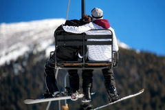 Minnaars op Ski Lift Stock Fotografie