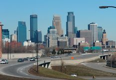 Into Minneapolis. A picture of freeway leading into the city of Minneapolis Stock Photo