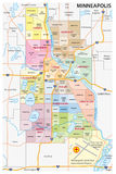 Minneapolis administrative political and road map Royalty Free Stock Photos