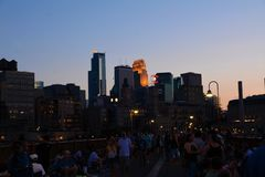 Minneapolis bij schemer Stock Fotografie
