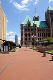 Minneapolis buildings. A view of a Minneapolis downtown plaza, including government building and city hall stock photography