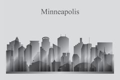 Minneapolis city skyline silhouette in grayscale Stock Images
