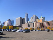 Minneapolis Cityscape. A picture of Minneapolis Cityscapes from across the parking lot stock images