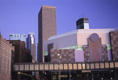 Minneapolis Cityscape. Minneapolis Minnesota Target Center and Skyway Stock Photo
