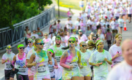 Minneapolis color run with participants Royalty Free Stock Photo