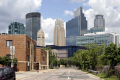 Minneapolis Downtown City Skyline Street. Street is almost barren with downtown Minneapolis skyline in the background Royalty Free Stock Images