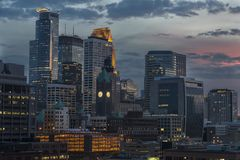 Minneapolis downtown at night royalty free stock image