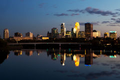 Minneapolis downtown skyline at sunset. Royalty Free Stock Image