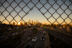 Minneapolis Downtown Sunset. Sunset on the bridge to Minneapolis Downtown Royalty Free Stock Photography