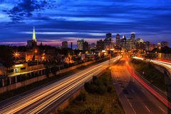 Minneapolis Evening. A summer night view of the Minneapolis skyline royalty free stock image