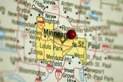 Minneapolis mapa Obrazy Royalty Free