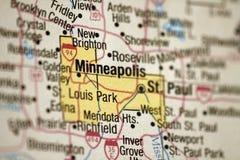 Minneapolis mapa, Minnesota Zdjęcia Stock