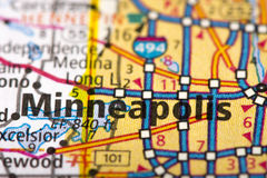 Minneapolis, Minnesota on map. Closeup of Minneapolis, Minnesota on a road map of the United States Stock Photography