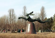 Hare on bell on portland stone piers by Barry Flanagan at Minneapolis sculpture garden stock photography