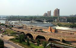 Minneapolis, Minnesota. Mississippi River and Stone Arch Bridges. royalty free stock photography
