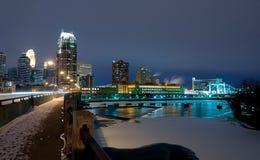Minneapolis Minnesota at Night Stock Image