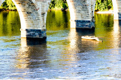 Minneapolis, MN, river and bridge near downtown Stock Photo