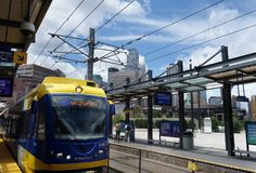 MINNEAPOLIS,MN/USA - 7-09-2018: View of a light-rail station in Royalty Free Stock Photos