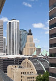 Minneapolis old and modern downtown city buildings Royalty Free Stock Photography