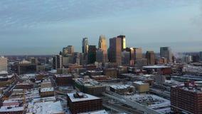 Minneapolis przy półmrokiem - antena zbiory