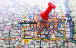 Minneapolis. Red tack in a map of Minneapolis, Minnesota Royalty Free Stock Photography