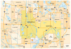 Minneapolis Saint Paul road and administrative map Stock Photo