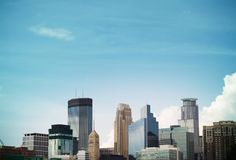Minneapolis Skyline. Daytime view of downtown skylinr of Minneapolis, MN royalty free stock image