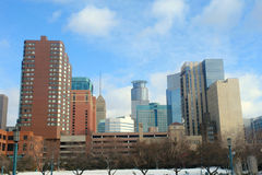 Minneapolis Skyline. A picture of the Minneapolis skyline from convention center downtown Stock Images
