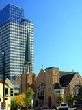 Minneapolis skyline. Church and Target Corportion behind in downtown Minneapolis Stock Photos