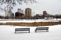 Minneapolis Skyline. A picture of Minneapolis skyline from snowy park Stock Photos