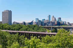 Minneapolis Skyline Across River Stock Image