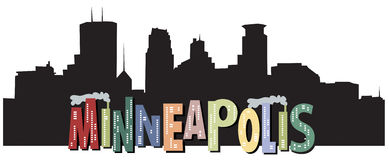 Minneapolis Skyline Art Stock Photo
