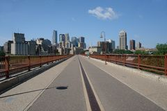 Minneapolis skyline from Bridg. A picture of theMinneapolis Skyline from Stone Arch Bridge stock photo