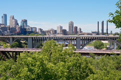 Minneapolis Skyline and Bridges Royalty Free Stock Image