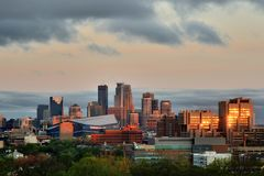 Minneapolis Skyline with Minnesota Vikings US Bank Stadium Stock Photo