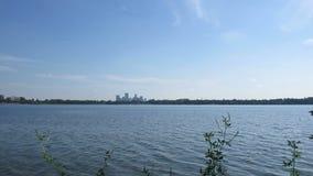 Minneapolis Skyline over Lake Calhoun stock footage